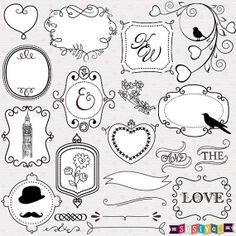 INSTANT DOWNLOAD Cute Frame Decorations Design by SasiyaDesigns, $5.00