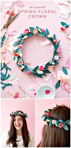 Easy DIY Paper Spring Floral Crown - 101 Easy DIY Spring Craft Ideas and Projects - DIY & Crafts
