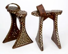 """I'm not even sure how you'd walk in these...Turkish or Syrian early 20th century.     Ottoman Empire women wore these to protect their feet from the dust of the streets and the floors of the public baths.  These wooden sandals, inlaid with mother-of-pearl, were reserved for special occasions. (Info taken from the book """"Shoes"""" by Linda O'Keeffe.)"""