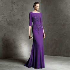 Find More Evening Dresses Information about Elegant Evening Dress 2016 Purple Mermaid Beaded Evening Dresses Half Sleeve Chiffon Long Party Gowns Vestido De Festa,High Quality gown dress,China gown ball Suppliers, Cheap gown evening dress from Charming Dress Factory on Aliexpress.com