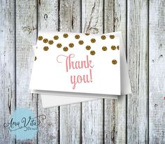 INSTANT DOWNLOAD - Gold Glitter Confetti Dots Thank You Note Card DIY by AmaVitaDesigns on Etsy #party #printable #diy #thankyou #gold #glitter #confetti