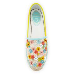 Rene Caovilla Flower-Embellished Lace Espadrille Flat ($540) ❤ liked on Polyvore featuring shoes, espadrille, flower pattern shoes, low heel shoes, beaded flat shoes, floral flat shoes and lace-up espadrilles