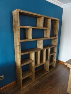 Reclaimed Wood Bookcase / Shelving Unit - bookshelf, , I create chunky, rustic - yet stylish - shelving units from reclaimed scaffold board timber. The piece pictured was custom fit to a bookcase, but I ca. Reclaimed Wood Bookcase, Wooden Bookcase, Reclaimed Wood Projects, Reclaimed Wood Furniture, Build A Bookcase, Bookcase Plans, Timber Furniture, Salvaged Wood, Wood Wood
