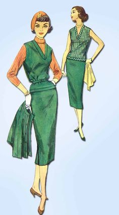 "Simplicity Pattern 2389 Misses' Suit Pattern Comes with Skirt, Vest and Jacket Dated 1957 Factory Folded and Unused Nice Condition Overall Size 13 (33"" Bust)"