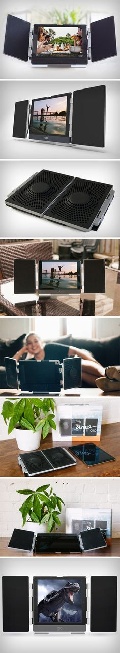 The OIO Ampputs two incredibly sleek speakers on either side of your iPad in a format that seems like a TV and Home Theater set-up, but made portable. Unlike every external wireless speaker that is designed as an independent unit, the OIO Amp was built to integrate with the tablet, becoming a singular unit that can be opened out anywhere, and then folded and stored away. BUY NOW!