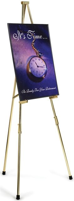 Display Easel for Floor, Tripod Design, 4 Set Display Heights, 6 Feet - Brass.  Many other similar easels