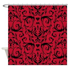 Red And Black Damask Pattern Shower Curtain