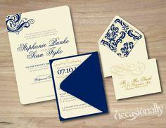 Elegant Swirl Wedding Invitations in Beige & Navy Blue w/ Damask Envelope Liner