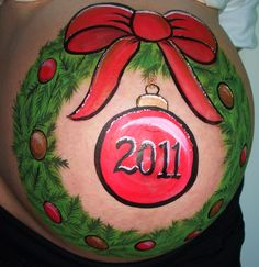 painted christmas baby belly pictures   Face and Prenatal Belly Painting New Jersey   Color By Chris