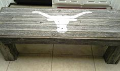 Longhorn bench prior to the burnt orange paint