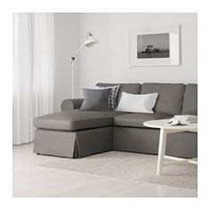 IKEA - EKTORP Loveseat and chaise lounge Nordvalla gray  Seat cushions filled with high resilience foam and polyester fiber wadding provide comu2026  sc 1 st  Pinterest : ikea ektorp loveseat chaise - Sectionals, Sofas & Couches