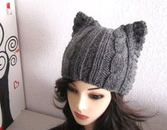 Cute Cat Dark Gray Wool Knitted Hat  Ready to Ship by mymayamade, $43.99