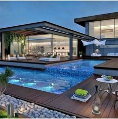 Ideas: Modern Pools Ideas With Wooden Deck And Pool Lounge Chairs Plus Pool Ligh Luxury Modern Homes, Luxury Homes Dream Houses, Dream Homes, Cool Swimming Pools, Swimming Pool Designs, Nice Pools, Small Pools, Dream Home Design, Modern House Design