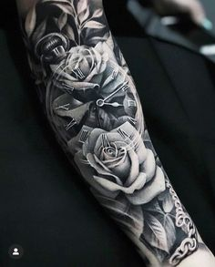 Kir Delgado > Roses & Clock on back of neck tattoos on back on back shoulder tattoos on back on back skull