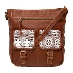 Large Crochet Front Pockets Crossbody Bag, Cognac in color Brown.