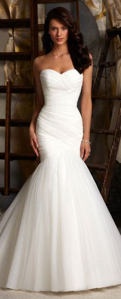 wedding dress wedding dresses http://www.wedding-dressuk.co.uk/tulle-lace-ruching-delicate-trumpet-wedding-dress-p-228738.html