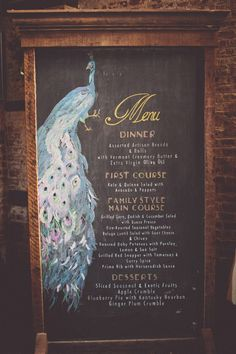 Peacock menu inspiration. Peacocks are mindblowingly beautiful in every way, and they add class and style to eveything. Add a peacock design to your menu to glam it up and make it hard for your guests to look away