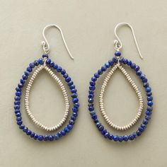 "NIGHT RUNNER EARRINGS -- Faceted lapis runs laps around beaded sterling silver in teardrop earrings with miles of style. Sterling silver wires. Exclusive. 2-3/8""L."