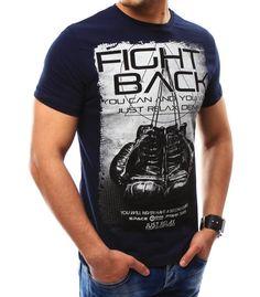 Pánske tmavomodré tričko s potlačou