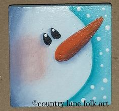 snowman pin, hand painted, original design, country christmas, folk art pin, by countrylanefolkart on Etsy https://www.etsy.com/listing/214783381/snowman-pin-hand-painted-original-design