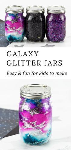How to Make Galaxy Glitter Jars Glitter Jars, Glitter Crafts, Diy For Kids, Crafts For Kids, Diy Crafts, Burlap Crafts, Hobbies For Kids, Burlap Projects, Simple Crafts