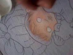 Part 1...Como pintar em tecido o rostinho e os olhos do bebê.