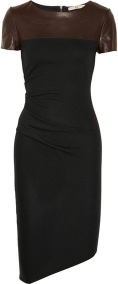 Halston Heritage Leather Detailed Wool Jersey Dress
