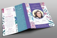Floral Funeral Program Templates Floral Funeral Program TemplateThis Floral Funeral Program Template is customized for any funeral by Royallove Travel Brochure Template, Design Brochure, Bi Fold Brochure, Brochure Layout, Business Brochure, Photography Flyer, Photography Business, Program Template, Flyer Template