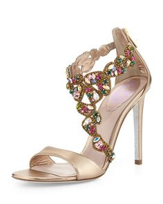Rene Caovilla Crystal-Covered Asymmetric Sandal, Beige $1,395.00 I Am So In Love With All Of Rene Caovillas Shoes!!! They Are So Amazing!!!