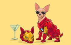 Superhéroes de Marvel versión canina por Josh Lynch