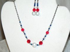 Red White and Blue Necklace and Earrings  hand by CJKingOriginals, $30.00