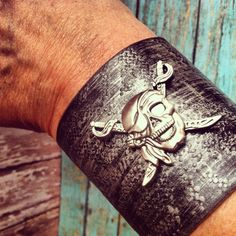 Leather Pirate Bracelet, Pirate Jewelry, Black Pirate, SZ Small ❤ liked on Polyvore featuring jewelry, bracelets, cuff bangle, pirate jewelry, black bangles, black leather jewelry and floral jewelry