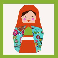 Matryoshka paper pieced quilt block pattern PDF by BubbleStitch, $2.90 If we find someone and give them this they can make in blues and yellows n oranges for a boy