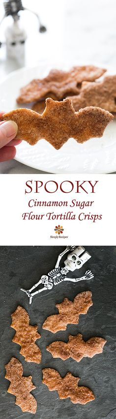 "Samhain // Hallowe'en // Day of the Dead - ""Spooky"" Cinnamon Sugar Flour Tortilla Crisps! Takes less than half an hour to make. Fete Halloween, Halloween Goodies, Halloween Food For Party, Halloween Desserts, Holidays Halloween, Halloween Treats, Easy Halloween, Halloween Stuff, Halloween Makeup"