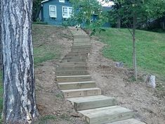 landscaping steep steps | stone steps in milford michigan timber steps in brighton michigan