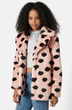 Topshop Polka Dot Faux Fur Coat | Nordstrom #jacket #covetme