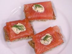 Irish Smoked Salmon on Brown Bread Crostini with Hard-Cooked Egg Aioli recipe from Bobby Flay via Food Network