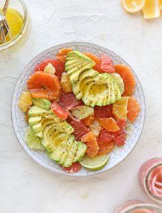 A deliciously fresh and invigorating avocado citrus salad with honey lime vinaigrette. It's creamy, tart, sweet and refreshing! Citrus Recipes, Salad Recipes, Vegan Recipes, Vegan Meals, Yummy Recipes, Honey Lime Vinaigrette, Easy Crepe Recipe, Pinterest Recipes, Salads