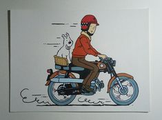 Tintin and Milou (Snowy) Motorcycle Painting, Tintin Comic Painting, 8x11 Painting