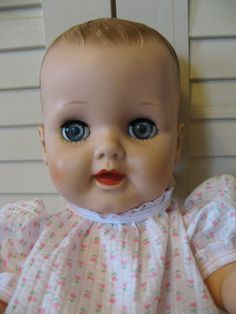 Vintage EEGEE Big Old Baby Doll Vinyl DRINK/ WET Molded Hair Sleepy Eyes 20-7 #eegee