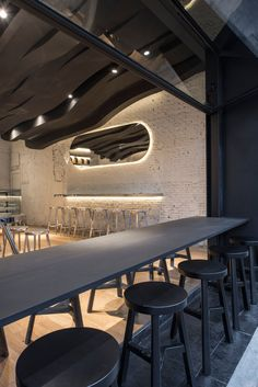 The Sculptural Ceiling In This Cafe Continues From The Inside To The Outside | CONTEMPORIST