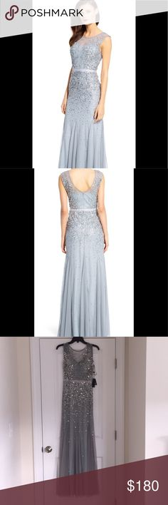 NWT Adrianna Pappell Long Beaded Gown NWT Adrianna Papell long beaded gown with illusion neck. Color: Blue Mist Adrianna Papell Dresses Wedding