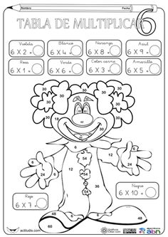 Tabla del 6                                                                                                                                                      Más Multiplication Facts Practice, Math Facts, Math Worksheets, Math Activities, Teaching Math, Teaching Resources, Math Numbers, Math Class, Math For Kids