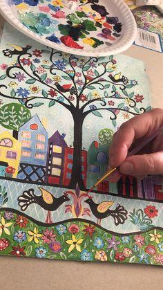 naïf tree of life by Christine Onward Tree Of Life Painting, Tree Of Life Art, Tree Art, Dot Art Painting, Rock Painting Designs, Stone Painting, Madhubani Art, Madhubani Painting, Folk Art Flowers