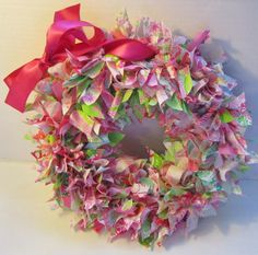 Beautiful rag wreath made with hundreds of strips of Lilly Pulitzer fabric. Great Valentine's Day Lilly wreath or just every day . Hot pink satin bow for hanging. 4 layers of fabric ties! Not affiliated with Lilly Pulitzer Inc. Wreath Crafts, Diy Wreath, Mesh Wreaths, Baby Wreaths, Wreath Ideas, Christmas Wreaths, Christmas Decorations, Xmas, Lilly Pulitzer Fabric