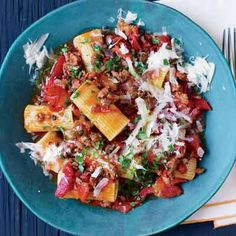 Fire Roasted Tomato and Hot Sausage n Beef Rigatoni (Rachael Ray Oct 2011)