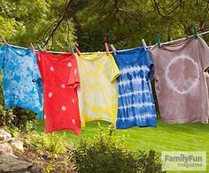 "Let's Tie-Dye!: Here's a project that should top your family's summer to-do list: tie-dye. It's a perfect activity to fill a lazy afternoon in the yard, culminating with a ""wow"" moment when the tied shirt is unfurled. If you're worried it's too complicated or messy to tackle with kids, don't be. It's virtually impossible to tie-dye incorrectly, and with these five single-color designs, it's easy to keep things tidy."
