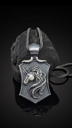 Silver Unicorn Necklace, The details of this necklace and chain are made with fine handcrafted. This pendant and chain are 925 sterling silver and oxidized plated.