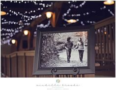Engagement photos on display at the reception. Chelsea + Daniel's wedding at Lenora's Legacy. Image credit: Michelle Brooks Photography.