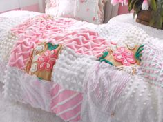 Vintage Chenille Patchwork Throw Size Cross Quilt by thepinkpalace, $159.00